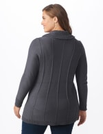 Cowl Neck Fit & Flare Sweater - Slate Grey - Back