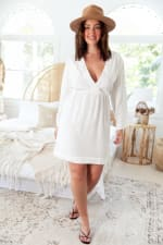 Curve Tamara Dress - Plus - White - Front