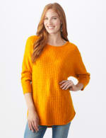 Westport Basketweave Stitch Curved Hem Sweater - Misses - Acorn Squash - Front