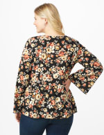Floral Flare Sleeve Hacci Sweater Knit Top - Plus - Black/Taupe - Back