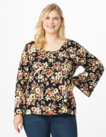Floral Flare Sleeve Hacci Sweater Knit Top - Plus - Black/Taupe - Front