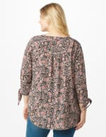 Floral Paisley Woven Pintuck Popover - Black - Back