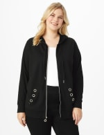 DB Sunday Grommet Zip Front Knit Cardigan - Plus - Black - Front