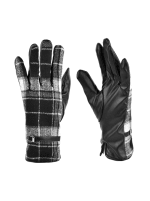 Plaid Faux Leather Touch Screen Gloves - Plaid - Front