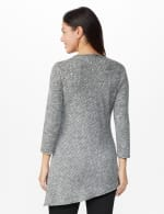 Westport Space Dye Embellished Asymmetrical Knit Tunic - Grey/Black - Back