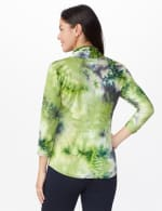 """Never Forget Your Mask"" Denim Friendly Tie Dye Top - Misses - Olive/Navy - Back"