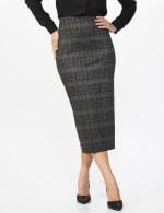 Printed ponte long slim skirt with back slit - Misses - Black/Gong - Front