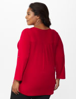 Roz & Ali Zip Front Knit Top - Plus - Fireside Red - Back