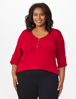 Roz & Ali Zip Front Knit Top - Plus - Fireside Red - Front