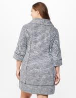 Cowl Neck Two Pocket Knit Dress - Plus - White/Black - Back