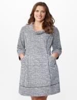 Cowl Neck Two Pocket Knit Dress - Plus - White/Black - Front