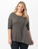 Color Block Hacci Knit Top - Grey - Front