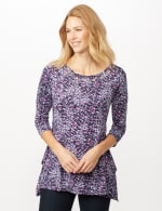Grommet Neckline Abstract Knit Top - Berry Combo/Silver - Front
