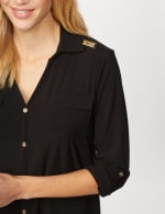 Roll Tab Sleeve Two Pocket Popover Top - Black - Detail