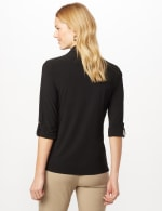 Roll Tab Sleeve Two Pocket Popover Top - Black - Back