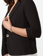 Cinched Sleeve One Button Faux Pocket Notch Collar Topper - Black - Detail