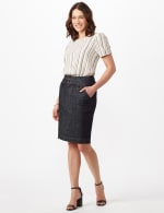 Two Buttoned-Waist Skirt - Rinse Wash - Front