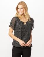 Short Sleeve Dotted Woven Top with Three Ring Chain - Black/White - Front