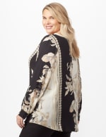 Long Sleeve Placed Floral Woven Top - Neutral - Back