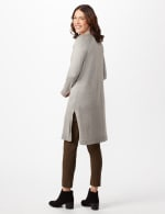 Long Sleeve Duster with Side Slits - Heather Grey - Back
