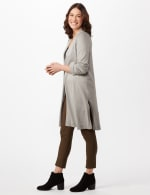 Long Sleeve Duster with Side Slits - Heather Grey - Detail