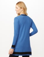 Long Sleeve Color Block Duster - Royal/Black - Back