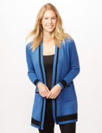 Long Sleeve Color Block Duster - Royal/Black - Front