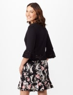 3/4 Sleeve Pointelle Trim Dress Topper - Black - Back