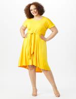 Stretch Crepe Tie Waist Hi/Lo Dress - Mustard - Front