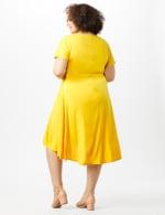Stretch Crepe Tie Waist Hi/Lo Dress - Mustard - Back