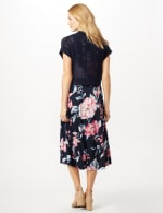 Floral Dress with Crochet Sweater - Black/Coral - Back