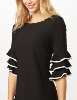 Ruffle Chacha Sleeve Sheath Dress - Black/Ivory - Detail