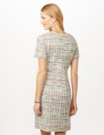 Boucle Two Pocket Dress - Aqua/Beige - Back