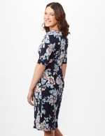 Aqua Floral Dress with Side Ruch - Navy - Back