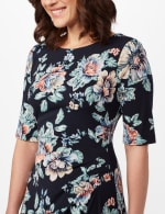 Aqua Floral Dress with Side Ruch - Navy - Detail