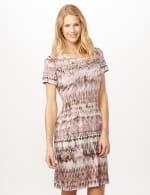 Short Sleeve Tie Dye Fit and Flare Dress - Dusty Rose - Front