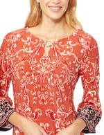 Scroll Puff ITY Border Print Dresss - Orange - Detail
