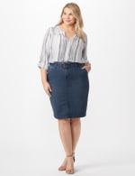 Belted Denim Skirt - Carbon Wash - Front