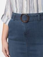 Belted Denim Skirt - Carbon Wash - Detail