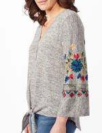 Embroidered Sleeve Hacci Top with Tie Front - Heather Grey - Detail