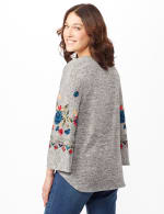 Embroidered Sleeve Hacci Top with Tie Front - Heather Grey - Back