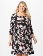 Floral Puff ITY Dress with Flounce Hem - Plus - Black/Blush - Front