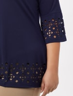 Boat Neck Bell Sleeve Knit Tunic - Plus - Navy - Detail