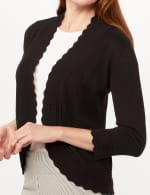 Scallop Trim Cardigan - Black - Detail