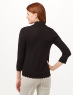 Scallop Trim Cardigan - Black - Back