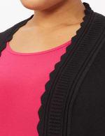Scallop Trim Cardigan - Plus - Black - Detail