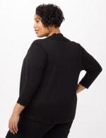 Scallop Trim Cardigan - Plus - Black - Back