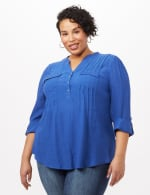 Textured Henley Popover Top - Plus - Surf The Web - Front