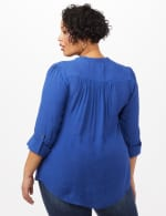 Textured Henley Popover Top - Plus - Surf The Web - Back