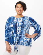 Tie Front Bell Sleeve Knit Top - Navy - Front